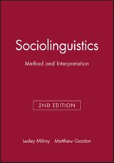 Sociolinguistics | Lesley Milroy ; Matthew Gordon |