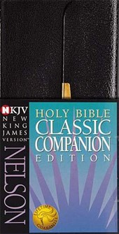 NKJV, Checkbook Bible, Compact, Bonded Leather, Black, Wallet Style, Red Letter Edition