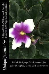 African Violet White and Purple Flower 100 Page Lined Journal