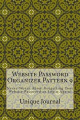 Website Password Organizer Pattern | Unique Journal |