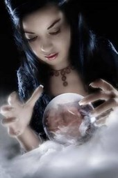 A Sorceress Peering Into Her Crystal Ball