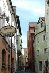 A Narrow Shopping Street in Regensburg, Bavaria
