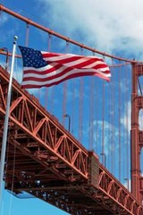 An American Flag in Front of the Golden Gate Bridge in San Francisco | Unique Journal |