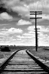 Train Tracks and Power Lines in Black and White | Unique Journal |