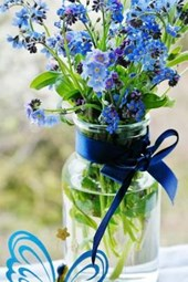 Blue Forget Me Nots in a Vase, for the Love of Flowers