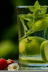 A Glass of Refreshing Mint and Lime Water