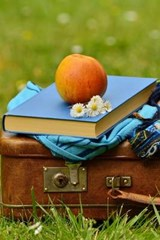 Antique Luggage, a Book, and an Apple | Unique Journal |
