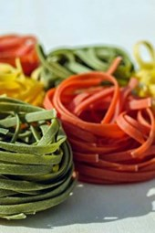 Raw Colored Pasta on Display, for the Love of Food