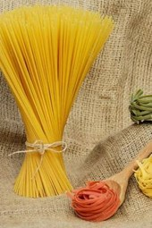 Raw Pasta Displayed on Burlap, for the Love of Food