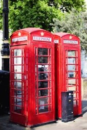 A Pair of Red British Phone Booths in London