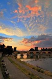 Stone Bridge Over Vardar River in Skopje Macedonia Journal