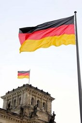 The German National Flag Flying at the Bundestag in Germany