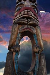 Cool Totem Pole at Sunset in Vancouver, Canada