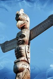 Totem Pole and Blue Sky in Canada