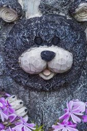 A Bear Carving on a Tree in a Garden