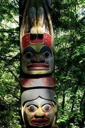A Totem Pole in the Canadian Woods