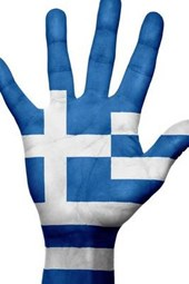 Website Password Organizer the Flag of Greece on a Hand