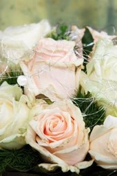A Wedding Bouquet of Pink and White Flowers