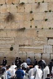 Praying at the Wailing Wall in Jerusalem, Israel