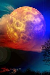 Moon with a Colorful Night