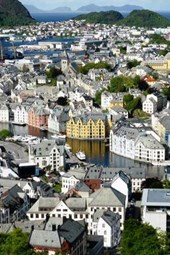 Aerial View of Alesund City and Fjord in Norway