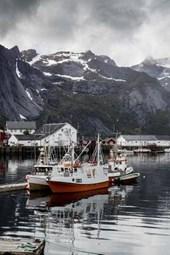 Boats in the Bay of Reine in Lofoten, Norway