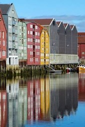 Storage House Along the River in Trondheim, Norway