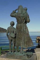 Waiting for the Fisherman Sculture in Fosnavag, Norway