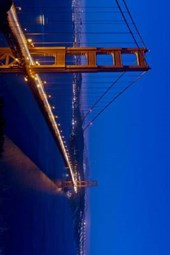 Panoramic View of the Golden Gate Bridge at Night in San Francisco