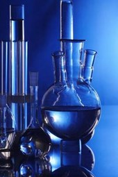 Cool Blue Beakers and Bottles in a Chemistry Lab