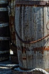 Two Old Wood Barrels in the Old West