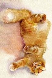 A Watercolor Painting of an Orange Tabby Cat