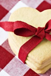 Heart Shaped Biscuit Wrapped in a Red Bow