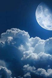 A Blue Moon Shining on the Clouds