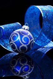 A Beautiful Blue Christmas Ornament and Bow