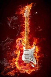 A Classic Rock Guitar on Fire