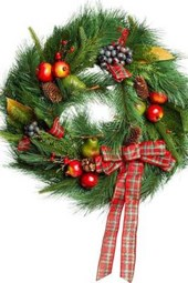 A Christmas Wreath with a Red Bow