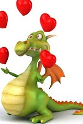 A Dragon Juggling Hearts