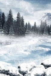 A Gothic Pond Painting in the Winter Countryside