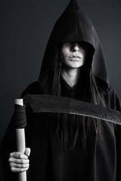 A Hooded Grim Reaper Holding Her Scythe
