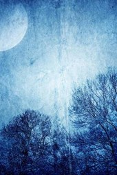 A Painting of Blue Moonlight and Trees