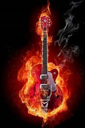 A Rock and Roll Guitar on Fire