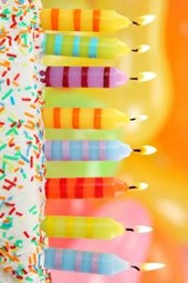 A Row of Candles on the Birthday Cake