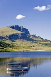 Boats on Loch Leathann with Old Man of Storr in Scotland Journal