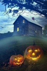 A Haunted House and a Pair of Lit Pumpkins | Unique Journal |