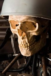 A Steampunk Human Skull with a Helmet