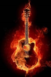 An Acoustic Guitar on Fire