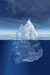 An Iceberg Above and Below the Water in Antarctica