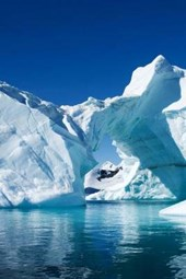 Beautiful Blue Water from an Iceberg in Antarctica