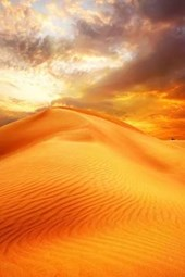 Beautiful Sunset Over the Sand Dunes of the Sahara Desert in Africa